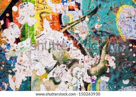 Part of Berlin Wall with grunge graffiti. Potsdamer Platz, Berlin, Germany - stock photo