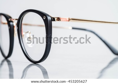 Part of Black Eye Glasses Isolated on White