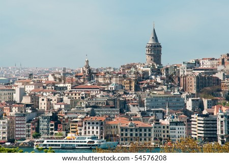 Part of Bosphorus and the Galata Tower