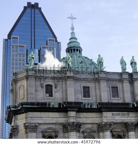 Part of Church in Montreal and Skyscraper Background - stock photo