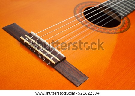 Part of classic guitar as background