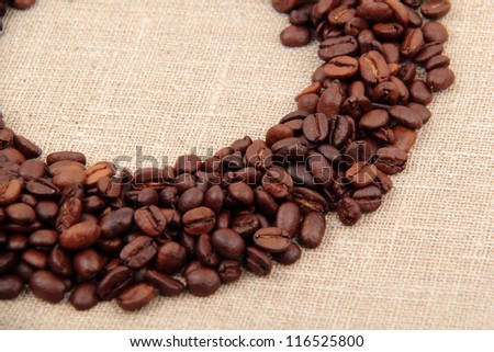 Part of coffee beans frame background
