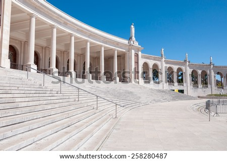 Part of colonnade of Fatima Sanctuary in Portugal