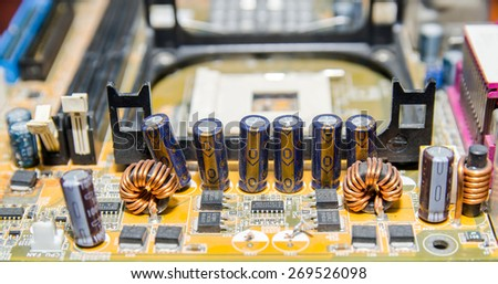 part of computer motherboard with microcircuit, close up - stock photo