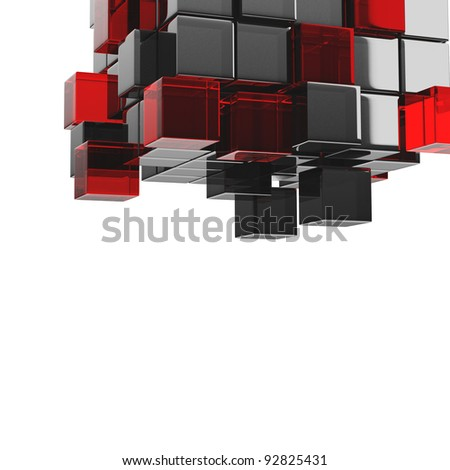 Part of cubes construction isolated 3d model - stock photo