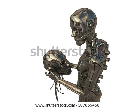 Part of cyborg (head)  in hands of another one - stock photo