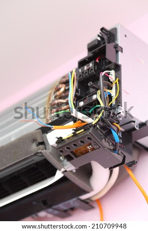 Part of disassembled air conditioner during the installation process - stock photo