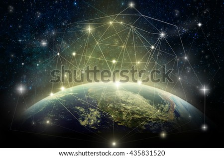 Part of earth with network line and point on the star and Milky Way background, Internet Network concept, Elements of this image furnished by NASA - stock photo