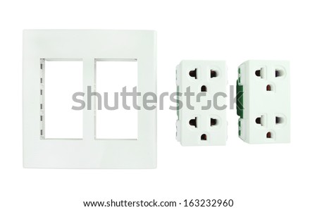 part of Electrical outlet (socket plug) on white background - stock photo