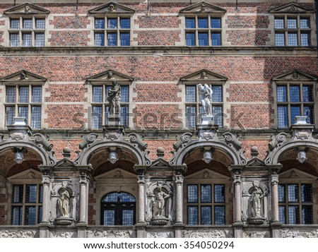 Part of facade of the Frederiksborg castle, Hillerod, Denmark - stock photo