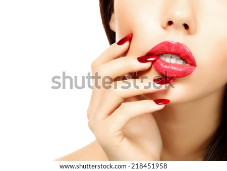 Part of female face with bright makeup - stock photo