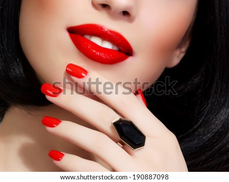 Part of female face with red lips   - stock photo