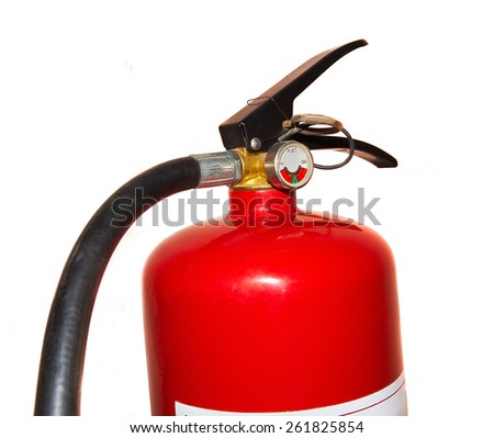 Part of fire extinguisher isolated on a white background - stock photo