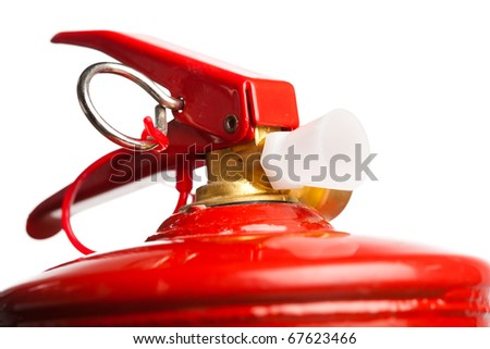 part of fire extinguisher isolated on white - stock photo