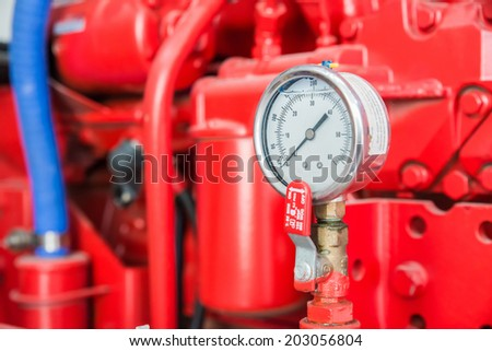 Part of fire pump in factory - stock photo