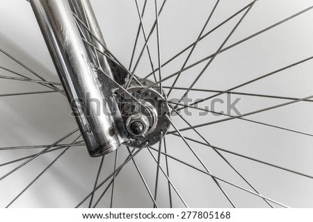 Part of fixed gear bicycle . Wheel part and wire