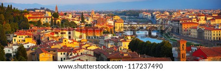 Part of Florence with bridges at sunrise. Italy - stock photo