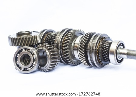 part of gear box on isolated background - stock photo