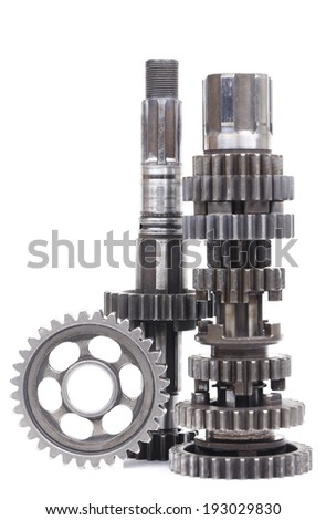 part of gearbox on black and white with isolated background  - stock photo