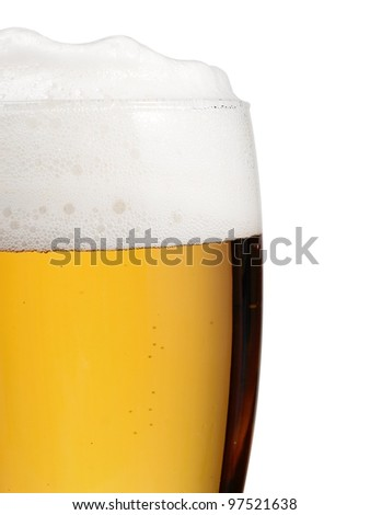 Part of glass full with beer