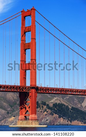 Part of Golden Gate Bridge, San Francisco - stock photo