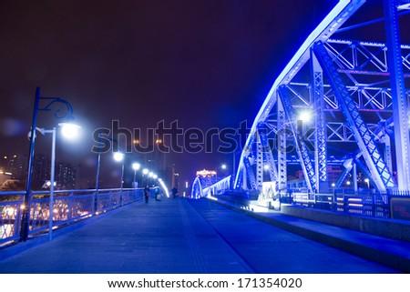 part of Guangzhou Haizhu bridge, steel structure - stock photo