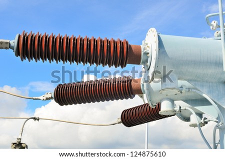part of high-voltage substation with disconnectors - stock photo
