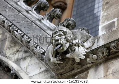 Part of House of Westminster Abbey Originally built in 11th Century and late updated by Sir Christopher Wren, London, UK - stock photo
