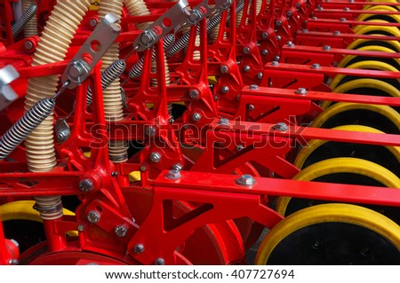 Part of industrial seeder - stock photo