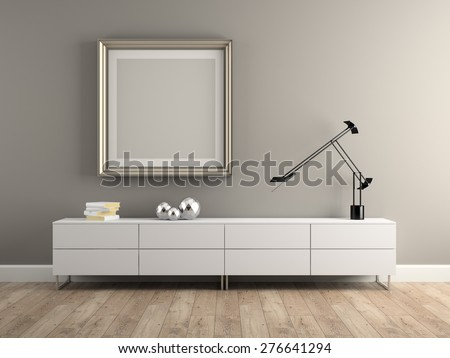 Part of Interior modern design room 3D rendering  - stock photo