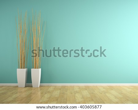 Part of interior with blue wall and vases 3D rendering
