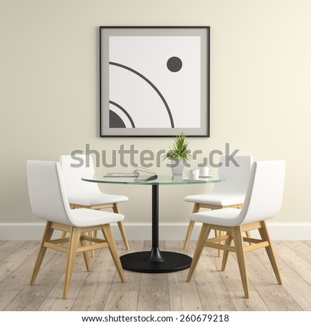 Part of interior with chairs and  table 3D rendering  - stock photo