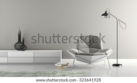 Part of interior with modern grey armchair 3D rendering  - stock photo