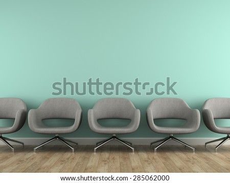 Part of interior with  modern grey armchairs 3d rendering  - stock photo