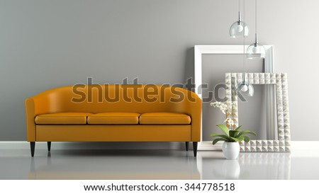 Part of  interior with orange sofa and stylish frames 3D rendering