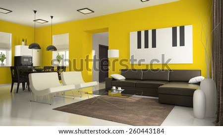 Part of interior with yellow walls  3D rendering - stock photo