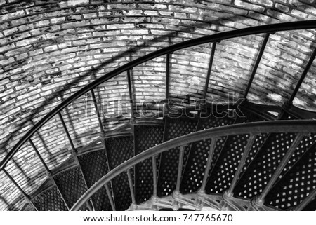 Part Of Ironwork Spiral Staircase Inside Vintage Brick Currituck Beach  Lighthouse In The Outer Banks Of