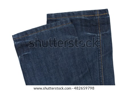 Part of jeans trousers isolated on white background