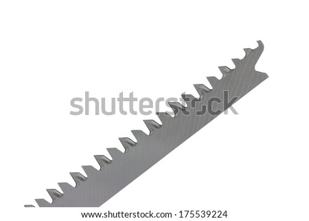 part of jigsaw blade, isolated on white with clipping path - stock photo