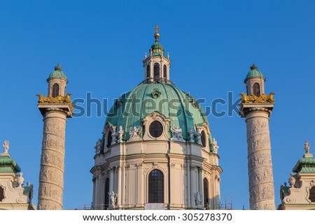 Part of Karlskirche in Vienna during the summer months showing the Dome and the towers. - stock photo