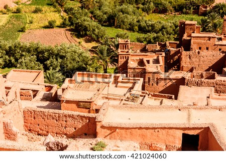 Part of Kasr of Ait Benhaddou, a fortified city, the former caravan way from Sahara to Marrakech. UNESCO World Heritage, Morocco - stock photo