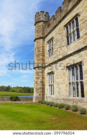 Part of Leeds Castle in a lake in Kent in England. The castle was built in the twelfth century as a king residence. Now it is open to the public. - stock photo