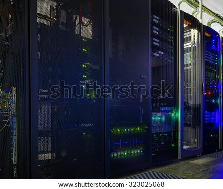 part of mainframes in the data center - stock photo