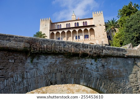 Part of Mallorca cathedral, in Palma de Mallorca, Spain - stock photo