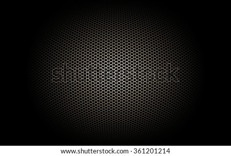 part of microphone and loudspeaker. black and gold curve metallic mesh background texture.  - stock photo