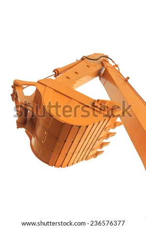 Part of  modern yellow excavator machines,the buckets/shovels raised against  sky in a construction site.