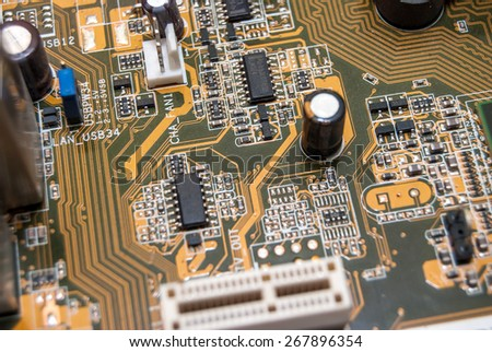part  of motherboard - stock photo