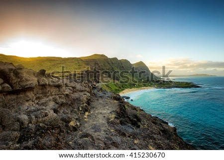 Part of Oahu south shore, including Makapuu Beach near Sea Life Park, from lookout during sunset - stock photo