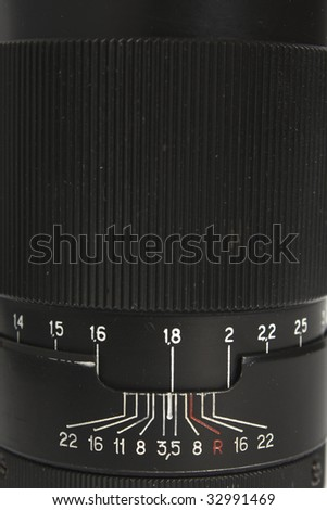 Part of Objective from classic manual film camera - stock photo