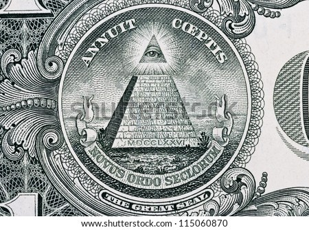 Part of one dollar note with great seal - stock photo